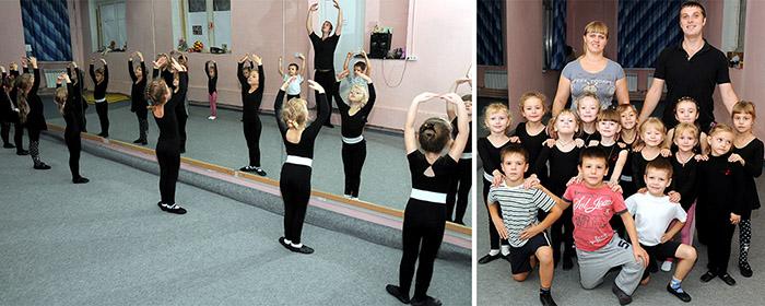 На занятиях акробатикой в зале
