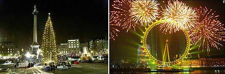 Елка на Трафальгарской площади и празднование Нового года