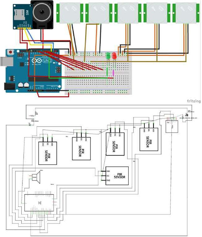 Электронная схема Arduino в программе Fritizing