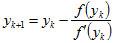 Формула по методу Ньютона