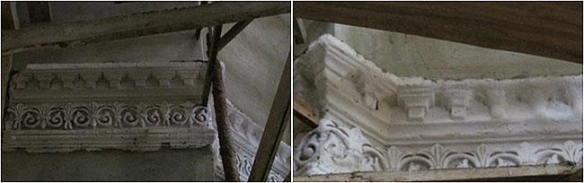 Фрагменты лепнины на стенах в Храме села Никитино