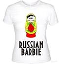 Футболка с надписью Russian Barbie