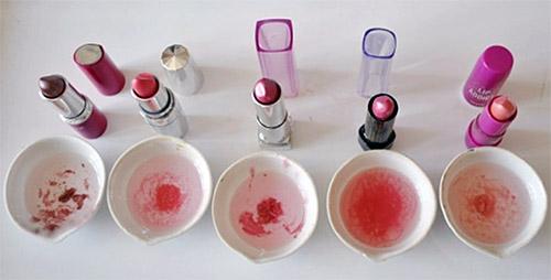 Образцы губной помады для анализа