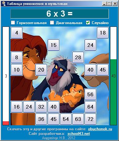 Таблица умножения на 6