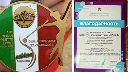 Золотая медаль XIV Чемпионат Европы по мажорет спорту