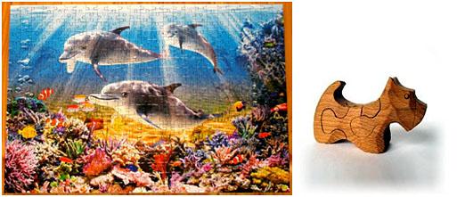 Картонные и деревянные пазлы с животными