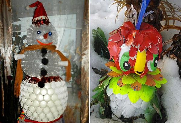 Снеговик и попугай из пластиковых стаканчиков