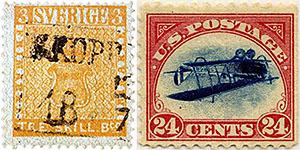 Желтая шведская марка и аэроплан Кертис-Дженни