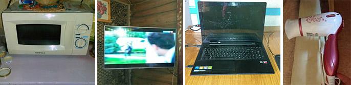 Микроволновка, телевизор, ноутбук