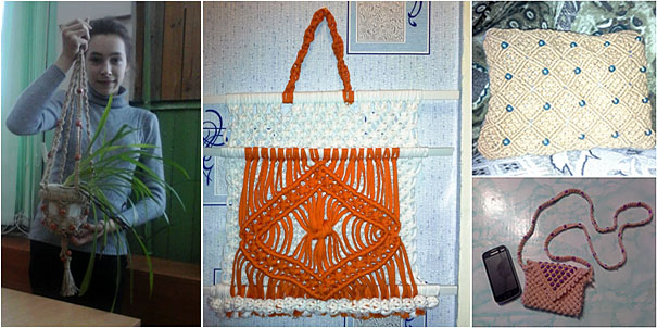 Кашпо для цветов, газетница, сумочка для телефона, диванная подушка в технике макраме