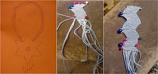 Плетение колье в макраме