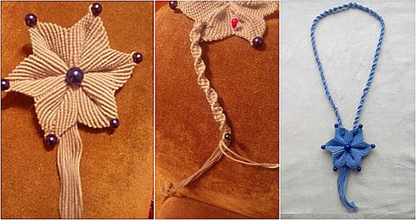 Плетение колье в технике макраме