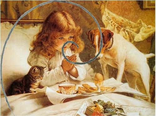 Наложение спирали Архимеда на картины